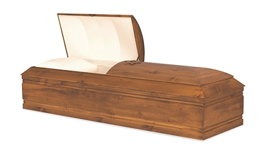 Almond_71009692_Wood Casket at Louis Suburban Chapel - Funeral Parlor - Funeral Home in Fair Lawn NJ - Bergen County