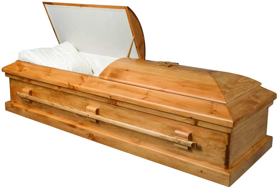 Almond_71009692_Wood Casket at Louis Suburban Chapel - Funeral Parlor - Funeral Home in Fair Lawn NJ - Bergen County